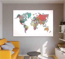 "Carte du monde ""COLORS WHITE LINES"""