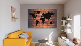"""Carte du monde """"Black & Wood Shape"""""""