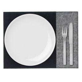 Tischset zweifarbig anthrazit-schwarz