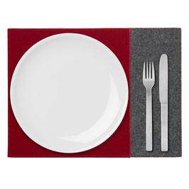 Tischset zweifarbig anthrazit-rubinrot