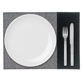 Tischset zweifarbig anthrazit- schwarz