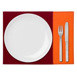 Tischset zweifarbig orange-rubinrot