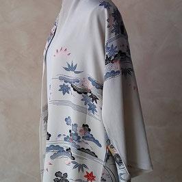 Longue jacket kimono soie chirimen