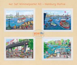 4  DIN A3 Poster Ein Posterset Kiel, Hamburg oder Laboe oder 4 gleiche oder 4 unterschiedliche Motive