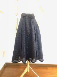 * 受注生産コットンレースのマキシ丈前明きスカート紺*