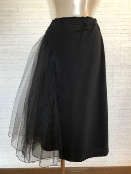 * チュールレースとカットソーのデザインスカート黒*