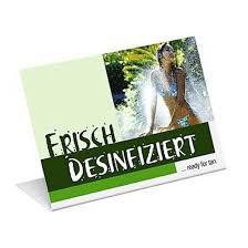 """Aufsteller """"Frisch Desinfiziert"""""""