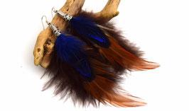 Boucles d'oreilles trois couleur WANETA - Ethnic Feather - plume bleue  roi et marron