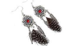 Boucles d'oreilles dreamcatcher strass rouge plumes noires et blanches, bijoux ethniques,