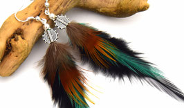 Boucles d'oreilles plumes Nokomis - Ethnic Feather - Bijoux ethniques - bijoux plumes noir et vert - grizzly