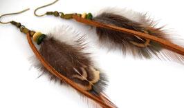Boucles d'oreilles plumes Aquene - Ethnic Feather -