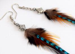 Boucles d'oreilles plumes Kanda - Ethnic Feather - Bijoux ethniques - Bijoux indiens - grizzly