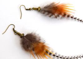 Boucles d'oreilles plumes Eyota - Ethnic Feather - Bijoux ethniques - Bijoux indiens - grizzly