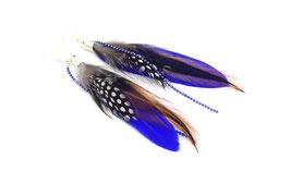 Boucles d'oreilles  MANSI plumes bleues, marron et fauve, bijoux de fêtes