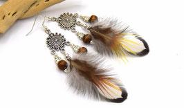 Boucles d'oreilles en plumes Kahsha , plumes naturelles blanches et orangées bijoux ethniques,
