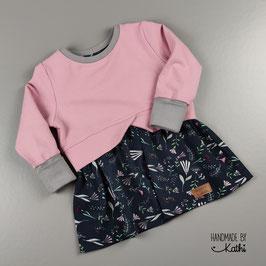 Girly Sweater - BIO-Kuschelsweat altrosa und BIO-Jersey Sommerestrauß - Gr. 92 + Mitwachsbündchen