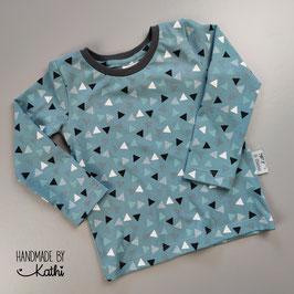 Basic Shirt - Dreiecke rauchblau- Gr. 92
