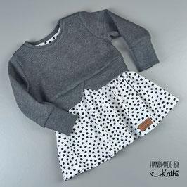 Girly Sweater - Waffelstrick dunkelgrau meliert und Bio Jersey dots - Gr. 92