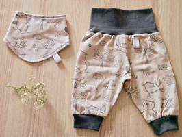 Set ''Waldtiere beige''  Pumphose & Halstuch Gr. 62/68