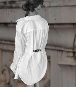 Kleiner Gürtel Mini Gürtel aus PINATEX® schwarz zum Befestigen an Blusen oder Jacken hinten oder vorne