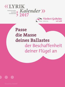 2017, Susanna Gneist, Titelgedicht: ‹Passe die Masse deines Ballastes›