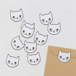 LOT DE 10 STICKERS TÊTE DE CHAT (Audrey Jeanne)