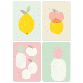 "CARTES ""FRUITS"" - LOT DE 4 (Zü)"