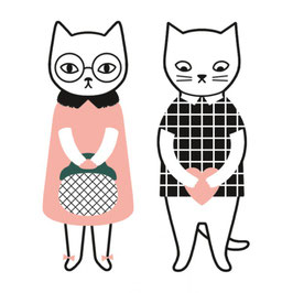 "Lot de 12 stickers ""Mr & Mrs Cat"" (Audrey Jeanne)"