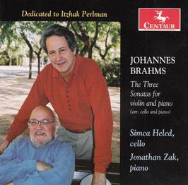Johannes Brahms: The Three Sonatas for violin and piano, arr. cello and piano (Centaur)