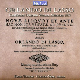 Orlando di Lasso: Cantiones Duarum Vocum, München 1577 (Tactus)