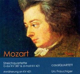 Wolfgang Amadeus Mozart: Streichquartette G-dur KV 387 & d-moll KV 421, Urs Frauchiger: Annäherung an das Streichquartett KV 421 (2CD, Telos)