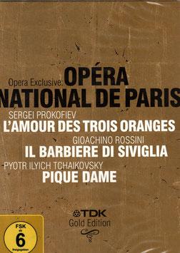 Sergei Prokofiev: L'Amour des trois oranges, Gioachino Rossini: Il Barbiere di Siviglia, Pyotr Ilyich Tchaikovsky: Pique Dame (4DVD, TDK)