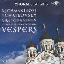 Sergei Rachmaninoff, Pytr Ilyich Tchaikovksy, Alexander Gretchaninov: Liturgy of St. John Chrysostom Vespers (5CD, Brilliant)