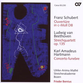 Franz Schubert: Ouvertüre in c-Moll D8, Ludwig van Beethoven: Streichquartett op. 135, Karl Amadeus Hartmann: Concerto funebre (Carus)