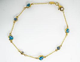 Ref.: 00286 Pulsera en oro 10k y ojo turco en color turquesa