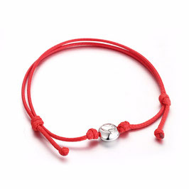 Ref.: 00099 Pulsera de Cuero rojo con dije de plata 925 Anna`s