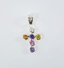 Ref.: 00354 Dije en plata925 y zircones de colores