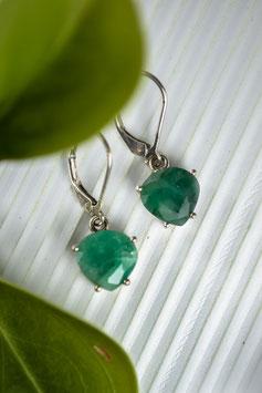 Ref.: 00180 Arete en plata y piedra preciosa esmeralda