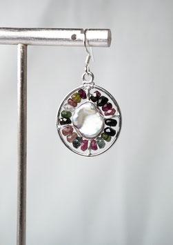 Ref.: 00331 Aretes en plata925, Perlas barrocas y Turmalinas