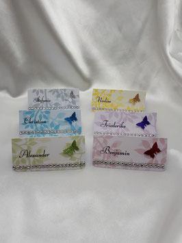 Tischkarte mit Namen Blätterranke Farbwahl