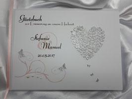 Gästebuch zur Hochzeit mit Fragen in Silber Rosa