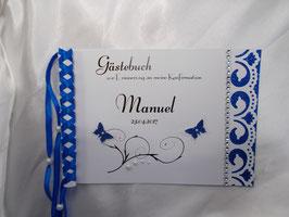 Gästebuch zur Kommunion Konfirmation o.a. Anlässen Din A5 Schmetterlinge blau