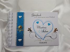 Gästebuch zur Hochzeit Engel Herz Türkis