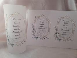 Gedenklicht Lichthülle zur Hochzeit Trauer Nr. 2