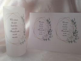 Gedenklicht Lichthülle zur Hochzeit Trauer Nr. 8