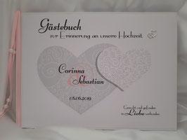 Gästebuch zur Hochzeit mit Fragen Doppelherz in Grau/Weiß