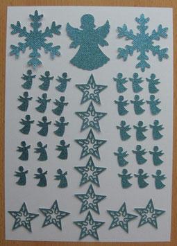 43 Stanzteile Weihnachten Glitter hellblau