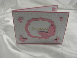 Grußkarte Karte zur Geburt Mädchen rosa