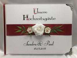 Gästebuch zur Hochzeit mit Fragen Rose rot