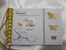 Gästebuch zur Hochzeit Metallic Schmetterlinge